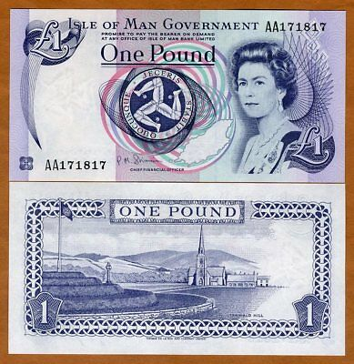 Isle of Man, 1 pound, ND (1983 issue), 2009 sig. P-40 (40c),  AA-Pref QEII, UNC