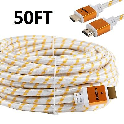 PREMIUM HDMI CABLE 50FT For 3D DVD PS4 HDTV XBOX LCD HD TV 1080P v1.4 White US
