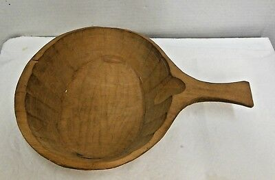Antique Very Rare Primitive Old Wooden Hand Carved Bowl  With Handle