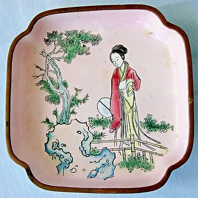 Vintage Cloisonne Enamel Tray Pink Japanese Geisha Red & Yellow Gown Green Tree