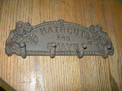 Cast Iron Haircut And Shave Plaque Hook Hanger  Rustic Brown  Western  Decor