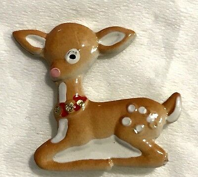 """Too Sweet BAMBI Baby Deer Fawn Realistic Handpainted JHB Button 7/8"""" Vintage"""