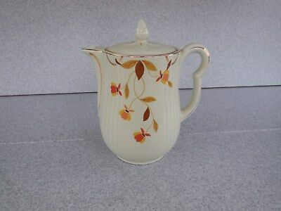 "Nice 9"" Hall's Superior M-8 Autumn Leaf Hot Coffee / Tea Pitcher With Lid"