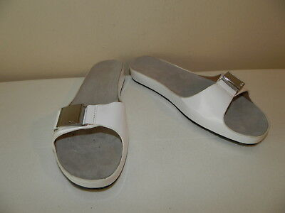 $69.00 NEW Auth CALVIN KLEIN White MARLIE Patent Leather Sandals Slides Shoes 6
