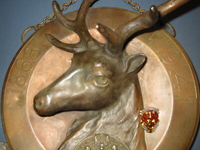 Massive Elks Head Bpoe New York Lodge # 1 /1868 - 1914 Hanging Bronze Elks Head