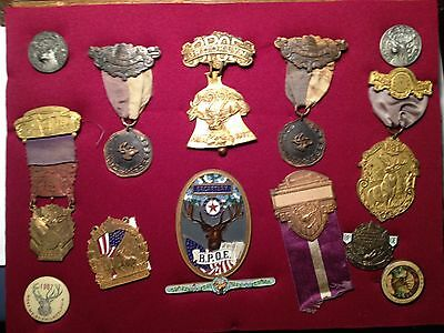 ELKS BPOE LODGE  VINTAGE MEDALS AND BUTTONS ASSORTED WOOD FRAMED  10 x 13