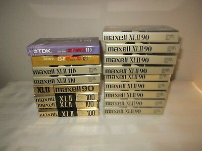 Lot of 17 New HIGH BIAS Blank Cassette Tapes - Factory Sealed - Maxell Sony TDK