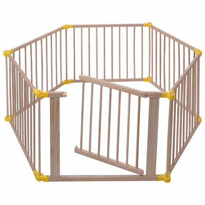 Baby Playpen 6 Panel Adjustable Wooden Frame Kids Child Safety Play Fence Gate
