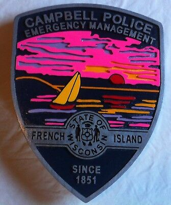 Police Department Campbell 3D routed carved wood  patch plaque sign New