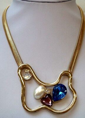 """Stunning Vintage Estate Colorful Heart Faux Pearl Gold Tone 16"""" Necklace!! 8383Y"""