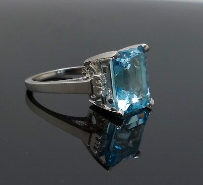 Vintage Retro 1940s/50s Art Deco Style 14K White Gold Blue Topaz Diamond Ring