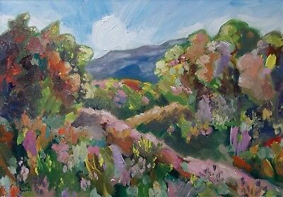 Large Original Impressionism Oil Landscape Painting By Claire Shotter. Hillside