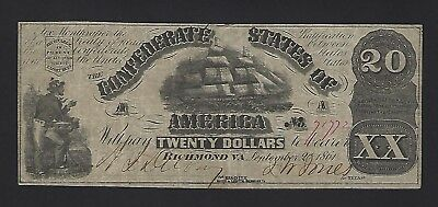 Early 1861 $20 Confederate Note Problem Free – NO RESERVE !