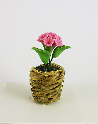 61340A Closeout Dollhouse Miniature Clay Basket Weave Squared Planter