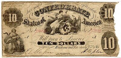 """T-10 PF-19 $10 Confederate Paper Money 1861 - missing """"for"""" by Treasr - RARE!"""