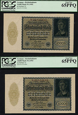 Tt Pk 72 1922 Germany 10000 Mark Pcgs 65 Ppq Set Of Two 95 Year Old Notes Wow!