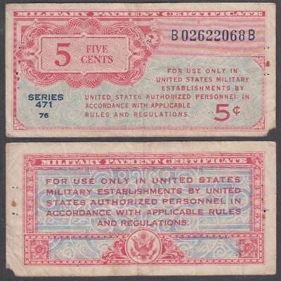 1947 series 471 Military Payment Certificate 5 Cents