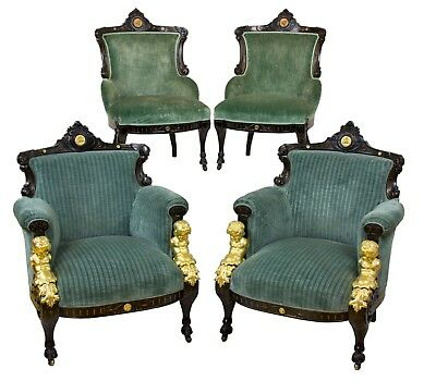 SWC-Suite of Four Upholstered Chairs, Pottier & Stymus, New York, c.1870