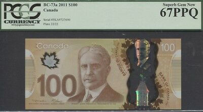 "TT PK BC-73a 2011 CANADA $100 ""ROBERT L. BORDEN"" PCGS 67 SUPERB POP 1 FINEST!"