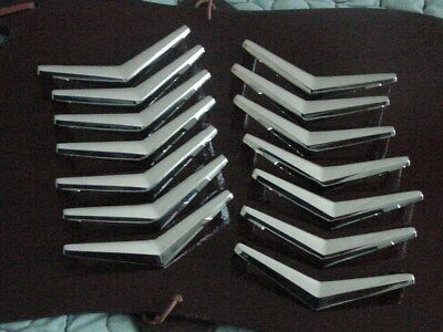 LOT of 14 - VINTAGE - BOOMERANG DRAWER PULLS HANDLES - Shiny Chrome 50's - '60's