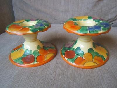 ART DECO stunning PAIR (2) of CANDLESTICKS CANDLE HOLDERS hand painted flowers