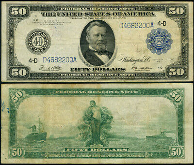 FR. 1039 A $50 1914 Federal Reserve Note Cleveland Fine+