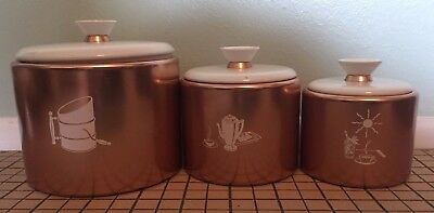 Vintage Mirro Kitchen Canister Set of 3 Copper Tone White Lids Retro Painted
