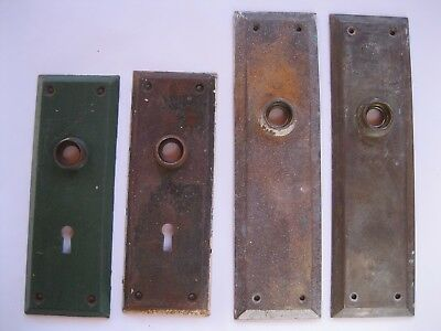 Vintage Door Knob Back Plates Steel Brass Lot of 4