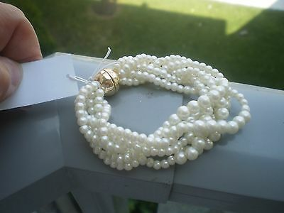 BANANA REPUBLIC GOLD TONE  & TWISTED STRANDS of FAUX PEARLS  BRACELET