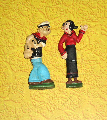 Vintage Cast Metal POPEYE & OLIVE OIL Set of 2 Figures Pewter RARE HTF Must See!