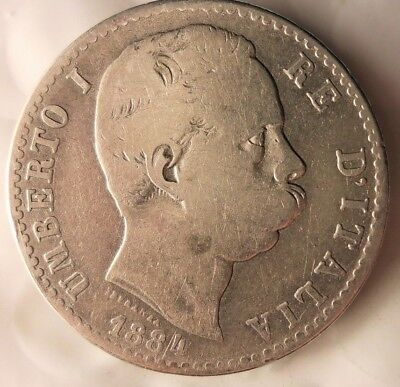 1884 ITALY 2 LIRE - RARE SILVER COIN - Key Coin Type - Big Value - Lot #J12