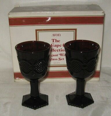 Avon Ruby Red Cape Cod 1876 2 Elegant Wine Goblets 5 Ounce  NIDB