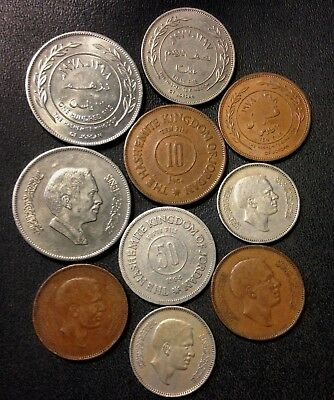Old Jordan Coin Lot - 1964-Present - 10 Excellent Islamic Coins - Lot #J12