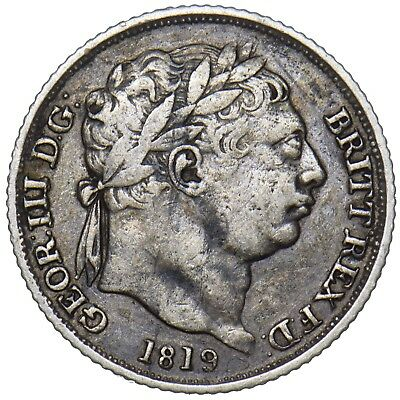 1819 Sixpence - George Iii British Silver Coin