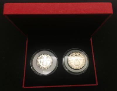 German WW2 Rare Old 2 and 5 Reichsmark  SILVER Coins with EAGLE