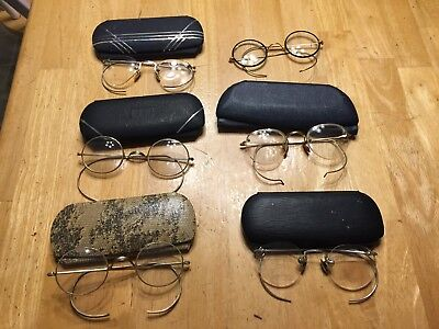 Lot of 6 Pair Antique Vintage Gold Filled Eye Glasses + Cases