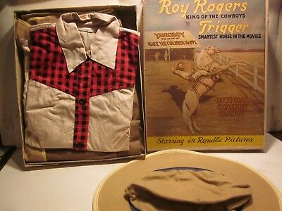 """VINTAGE 1950s """"ROY ROGERS & TRIGGER"""" OFFICIAL BOYS COWBOY OUTFIT, W/ ORIG. BOX"""