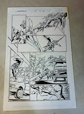 THUNDERBOLTS #15 page #18 original comic art ACTION page by BAGLEY of SPIDER-MAN