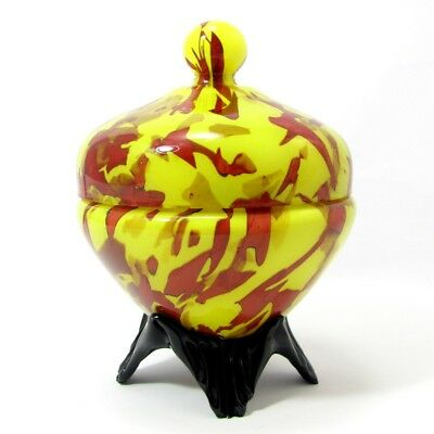 Vintage Czech Spatter Glass Lidded Dish Czech Art Deco Yellow Red Tango Jar