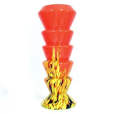 Vintage Czech Kralik Orange Spatter Glass Vase Tango Stepped Design Bohemian 11""