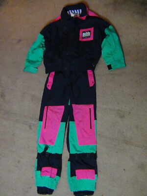 80's Vintage Men's Large*Powder Horn*Ski Suit Jacket & Pants/Neon on Black