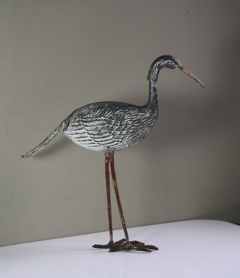 Antique Early 20thC Painted Spelter Metal Heron Bird Garden Lawn Yard Decoration
