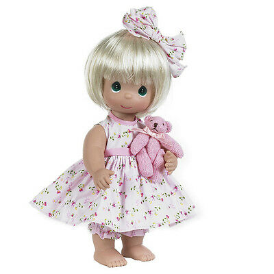 "Precious Moments Bear Foot Blessings 12"" Vinyl Doll Blonde by Linda Rick GiftBox"