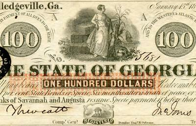 HGR FRIDAY 1862 $100 Confederate (State of Georgia) Appears CHOICE UNCIRCULATED