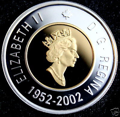 Canada 2002 Double Dated Proof Silver w/24k Gold Plated Core Toonie  PF 69 UHC