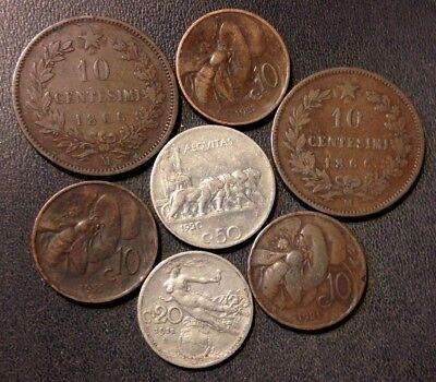 OLD ITALY COIN LOT - 1866-1935 - 7 Excellent Vintage Coins - Lot #J13