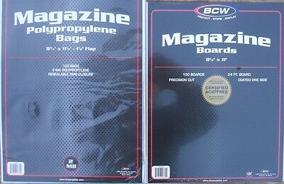 (25) Bcw Magazine Size Bags & Backing Boards - Priority Shipping