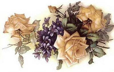 VinTaGe IMaGe ChiC YeLLoW RoSeS & VioLeTs SHaBbY WaTerSLiDe DeCALs ~AWeSoMe~