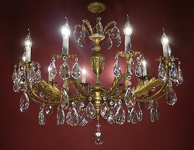 Big French 12 Light Brass Chandelier Crystal Glass Vintage Lamp