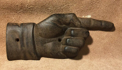 Old Vintage Cast Iron Thisaway Pointy Finger Trade Sign Hand - The Voodoo Estate
